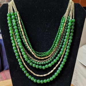 Lia Sophia green and gold multistrand necklace